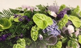 Contemporary Green & Lilac Casket Spray