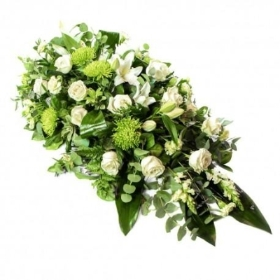Green & White Casket Spray