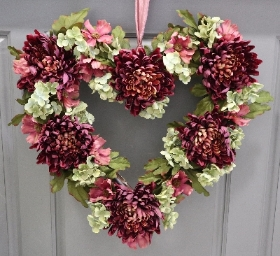 Heart Wreath in Burgundy & Pink