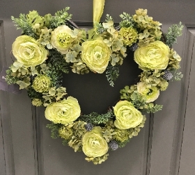 Chartreuse Heart Wreath
