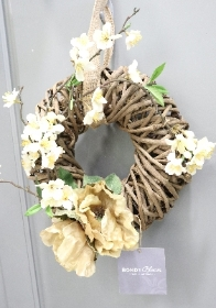 Caramel Poppy Faux Wreath