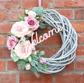 Grey & Pink Welcome Wreath